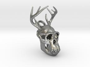 Buck-Chimp Fantasy Pendant in Natural Silver