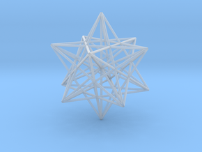 Stellated Dodecahedron with axes - 50mm in Smooth Fine Detail Plastic