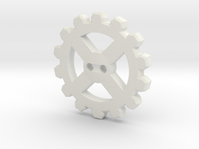 Cogwheel Button 02 in White Natural Versatile Plastic