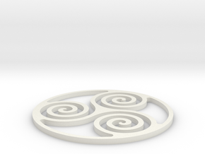 Triskelion Coaster 3 in White Strong & Flexible