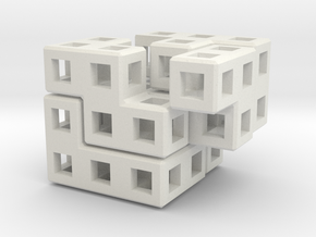 Cube Puzzle in White Natural Versatile Plastic