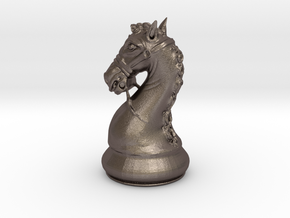 Knight Chess Piece in Polished Bronzed Silver Steel