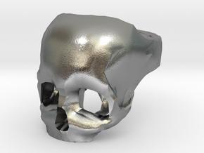 Skull Ring US 8 in Natural Silver