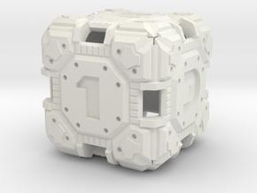 Tech Dice D-6  in White Natural Versatile Plastic