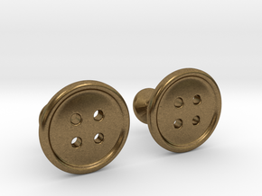 Button Cufflinks in Natural Bronze