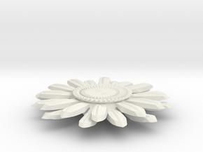 Sunflower Pendant - Bigger Loop in White Natural Versatile Plastic