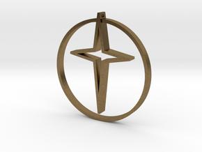 Circle of life cross 35mm in Natural Bronze