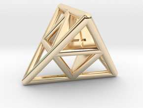 D4 Cage Dice in 14K Yellow Gold