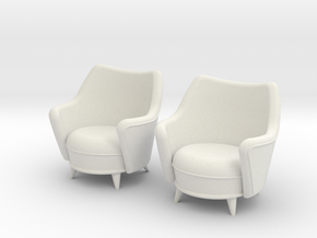 1:36 Moderne Tub Chair in White Strong & Flexible