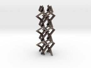Three-dimensional z3 Chain-link Fence (Medium) in Polished Bronzed Silver Steel