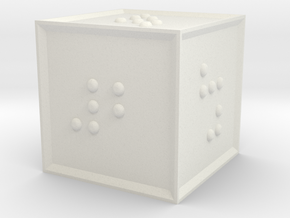 Braille D6 in White Natural Versatile Plastic