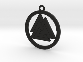 Valknut Pendant in Black Strong & Flexible
