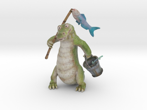 Gator Gone Fishing (color) in Full Color Sandstone