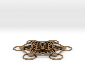Metatrons Cube Layered 50mm in Natural Brass