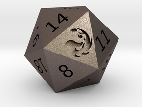 Mountain D20 in Polished Bronzed Silver Steel