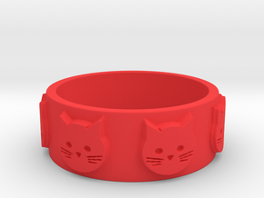 Ring of Seven Cats Ring Size 8.5 in Red Processed Versatile Plastic