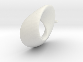 Mobius  - oval 4.5 cm long in White Natural Versatile Plastic