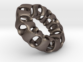 Porous Mobius torus - 3.2  cm in Polished Bronzed Silver Steel