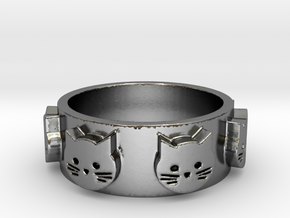 Ring of Seven Cats Ring Size 7.5 in Polished Silver