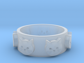 Ring of Seven Cats Ring Size 8 in Smooth Fine Detail Plastic