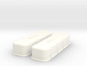1/8 BBC Dart Logo Valve Covers in White Strong & Flexible Polished