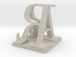Two way letter / initial A&R size XL in Natural Sandstone