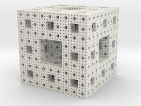 Menger Sponge in White Natural Versatile Plastic