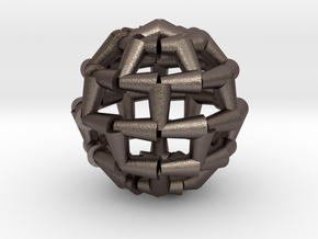 Brick Sphere 4 in Polished Bronzed Silver Steel