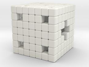 Hollow 8Bit in White Natural Versatile Plastic