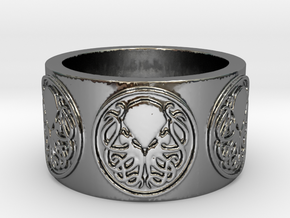 Ph'nglui mglw'nafh Cthulhu R'lyeh Ring #2, Size 10 in Fine Detail Polished Silver