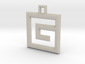 ABC Pendant - G Type - Wire - 24x24x3 mm in Natural Sandstone