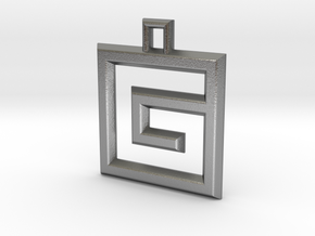ABC Pendant - G Type - Wire - 24x24x3 mm in Natural Silver