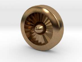 Aviation Button - Turbine Engine in Natural Brass