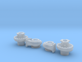 1/16 Scale 2 1/2 Inch Right And Left Turbo in Smooth Fine Detail Plastic
