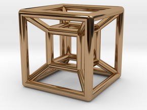 hypercube in Polished Brass