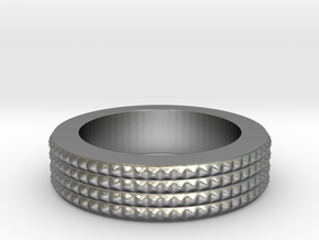 Men's Size 10 US Spiky Ring in Natural Silver