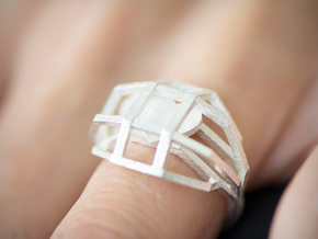 Geometry Caged Love Ring - My Heart Is In A Cage - in Natural Silver