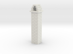 Brick Chimney 01 HO scale in White Natural Versatile Plastic