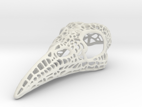 Filigree Raven Skull - LARGE in White Natural Versatile Plastic