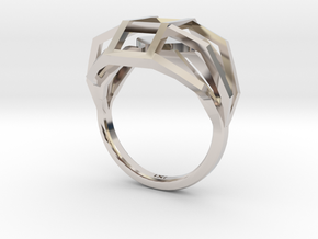 Geometry Caged Love Ring - My Heart Is In A Cage - in Platinum