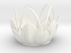 Tea-light - Flower in White Strong & Flexible Polished