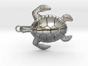 Pendant Turtle01 in Polished Silver