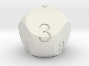 D7 3-fold Sphere Dice in White Natural Versatile Plastic