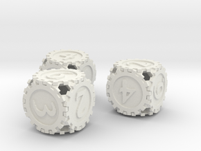 GearpunkDice3D6Set in White Strong & Flexible