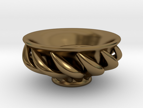"Spiral ""Guinomi"" Cup-01 in Polished Bronze"