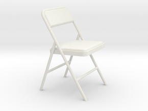 Miniature 1:24 Scale Folding Chair 1 in White Strong & Flexible