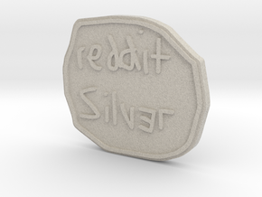 Reddit Silver Coin in Natural Sandstone