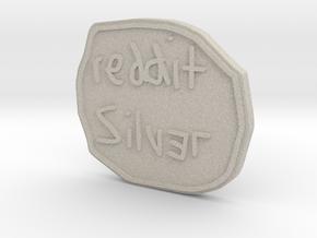 Reddit Silver Coin in Natural Sandstone
