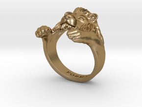 Lion Hug Ring in Polished Gold Steel