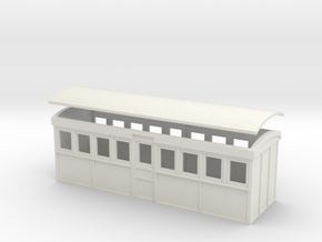HOn30 20 foot Bogie Tramway Carriage (B) in White Natural Versatile Plastic
